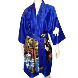 Marnky Vintage Robe Kimono Warrior Japanese Print